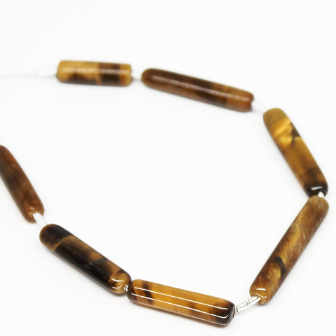 Tiger Eye Smooth Tube Beads, 7 beads, 16mm, SKU/N - Jewels Exports - 1