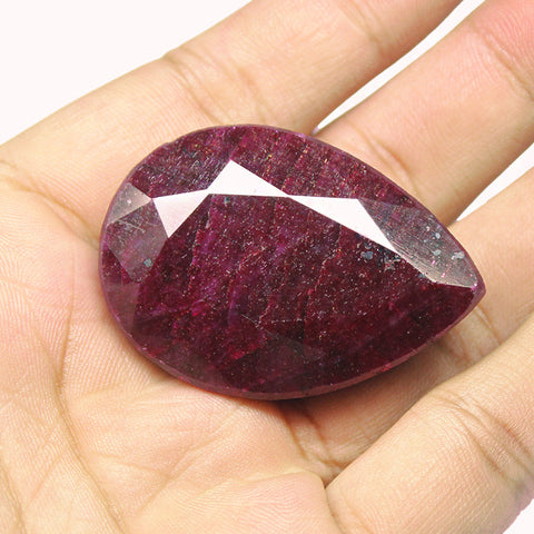 Natural Red Ruby Pear Shape Gemstone, 270.5cts, 45x32x17mm, SKU355/S - Jewels Exports - 1