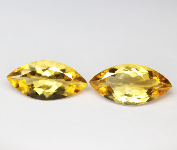 Golden Citrine Faceted Marquise Gemstone, 20x10mm, 1 pair, SKU2134A - Jewels Exports