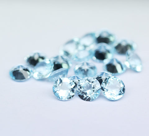 Eye Clean Sky Blue Topaz Round Gemstone, 6mm, 1 pc, SKU2041A - Jewels Exports