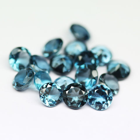London Blue Topaz Round Gemstone, 6mm, 2 pc, SKU1963A - Jewels Exports