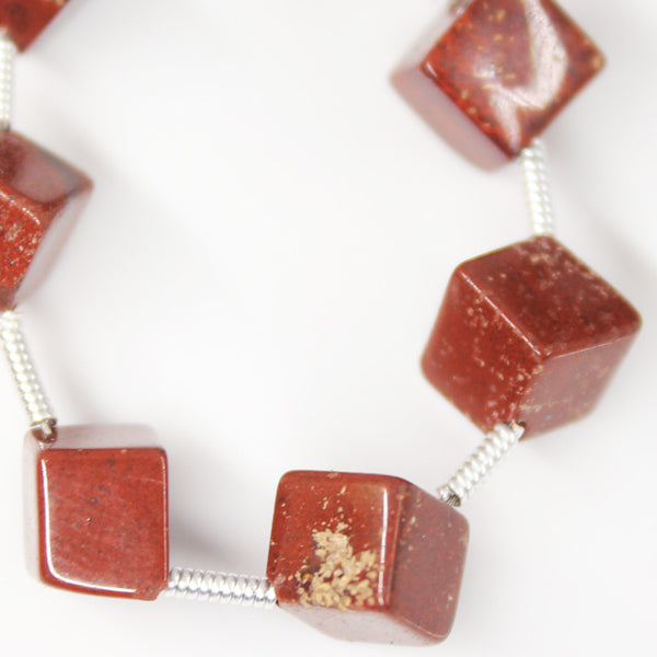 Red Jasper 3d Cube Box Beads, 7 Beads, 8mm, SKU/A - Jewels Exports - 1
