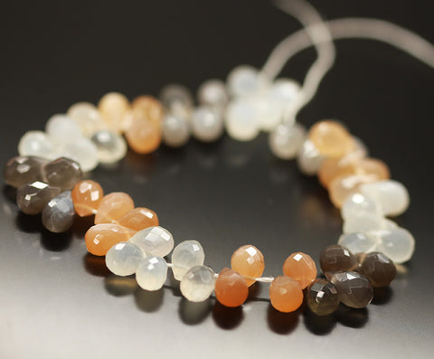 Multi Moonstone Tear Drop Beads Strand 9mm 11mm - 8 Inch - Jewels Exports