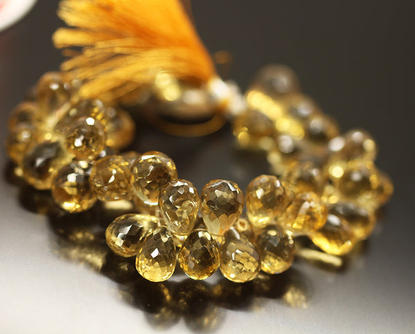 Beer Quartz Faceted Tear Drop Beads