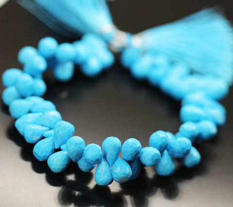 Blue Turquoise Tear Drop Beads Strand 9mm 10mm - 8 Inch - Jewels Exports