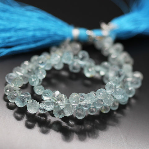 Blue Aquamarine Tear Drop Beads Strand 5mm 6mm - 8 Inch - Jewels Exports