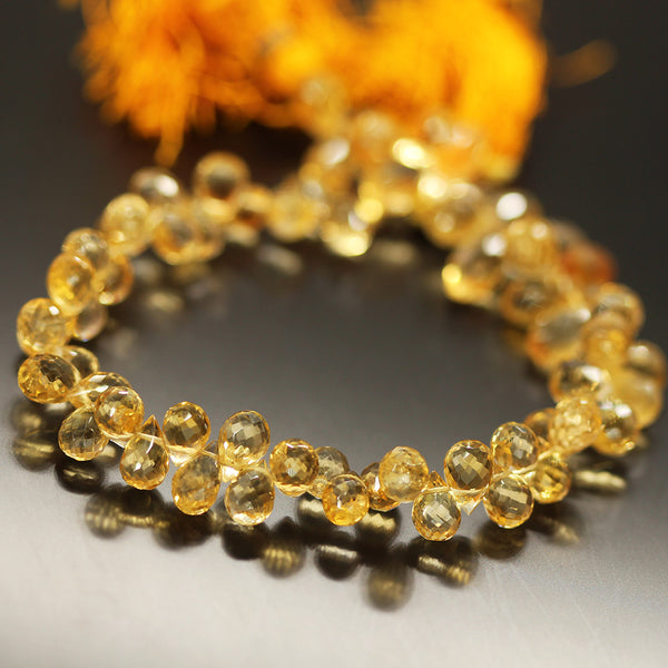 Golden Citrine Tear Drop Beads Strand 9mm 8mm - 11 Inch - Jewels Exports