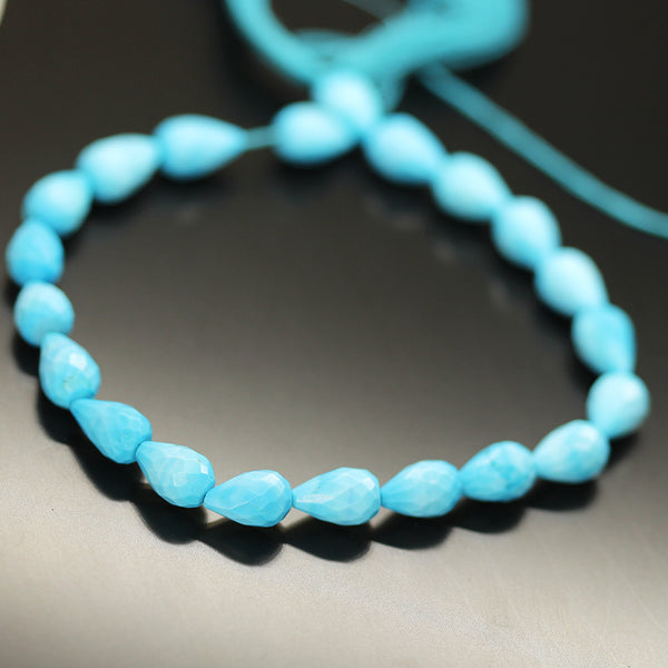 Blue Turquoise Tear Drop Beads Strand 9mm mm - 8 Inch - Jewels Exports