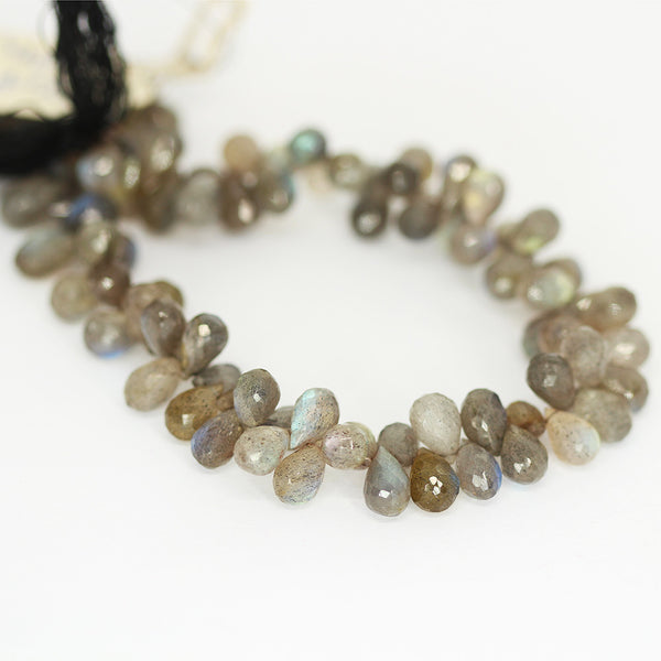 Labradorite Tear Drop Beads Strand 8mm 7mm - 8 Inch - Jewels Exports
