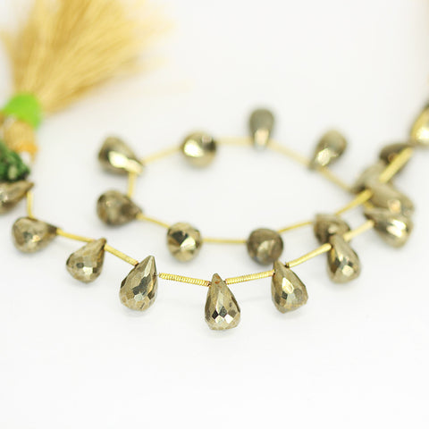 Pyrite Tear Drop Beads Strand 10mm 9mm - 10 Inch - Jewels Exports