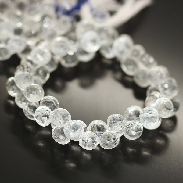 Clear White Quartz Faceted Onion Beads Strand 7mm 7.5mm - 8 Inch - Jewels Exports