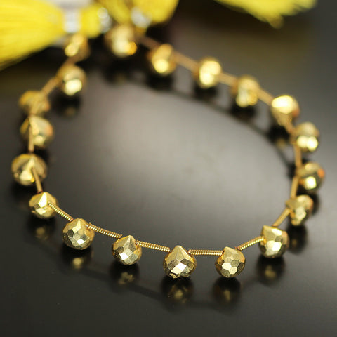 Gold Pyrite Faceted Onion Beads Strand 7mm - 8 Inch - Jewels Exports