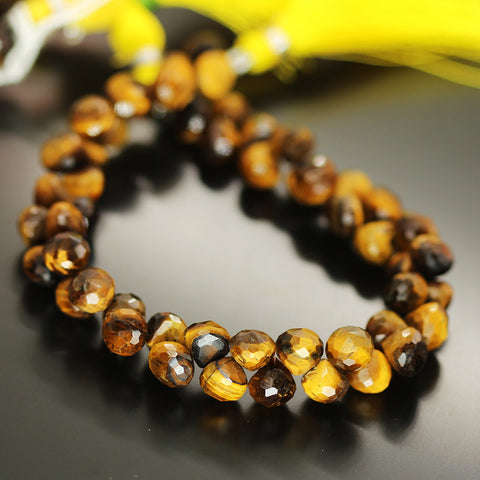 Bi Color Tigers Eye Faceted Onion Beads Strand 7mm 8mm - 8 Inch - Jewels Exports