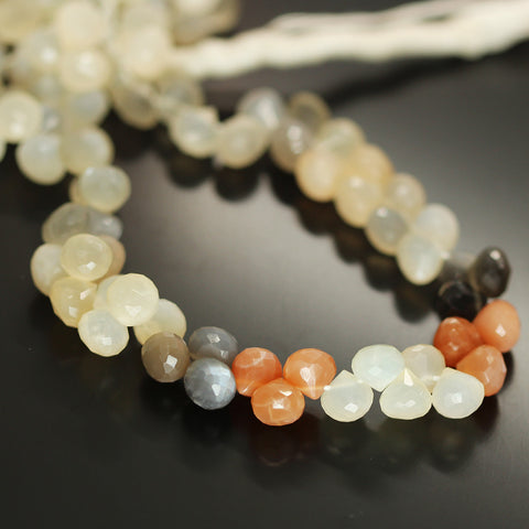 Multi Moonstone Faceted Onion Beads Strand 7mm - 9 Inch - Jewels Exports