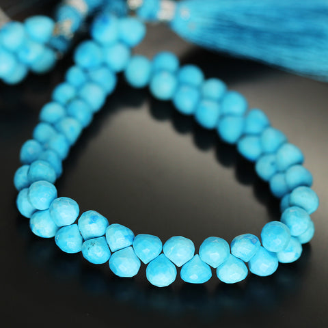 Blur Turquoise Faceted Onion Beads Strand 7mm - 8 Inch - Jewels Exports