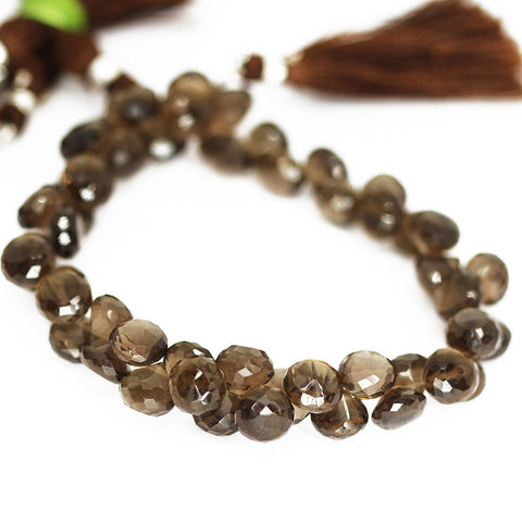 Brown Smoky Quartz Faceted Onion Beads Strand 8mm 9mm - 8 Inch - Jewels Exports
