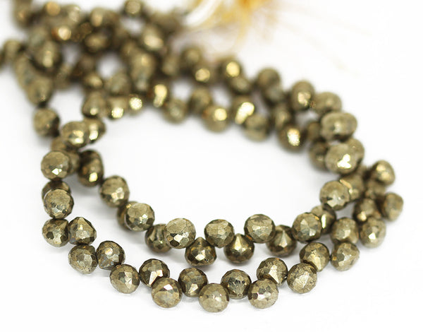Grey Pyrite Faceted Onion Beads Strand 6mm 6.5mm - 10 Inch - Jewels Exports