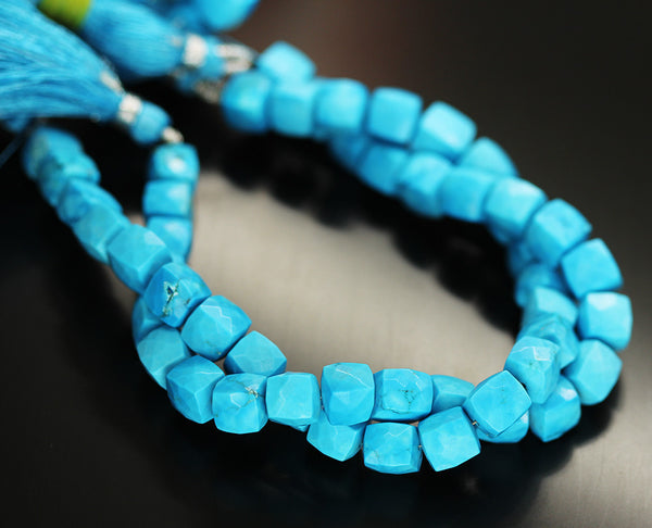 Blue Turquoise Faceted Box Beads Strand 7mm 8 Inches - Jewels Exports