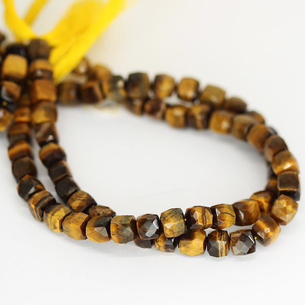 BiColor Tigers Eye Faceted Box Beads Strand 7mm 9 Inches - Jewels Exports