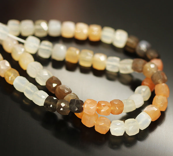 Multi Moonstone Faceted Box Beads Strand 7mm 9 Inches - Jewels Exports