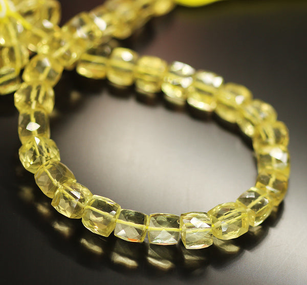 Yellow Lemon Quartz Faceted Box Beads Strand 7mm 8mm 10 Inches - Jewels Exports