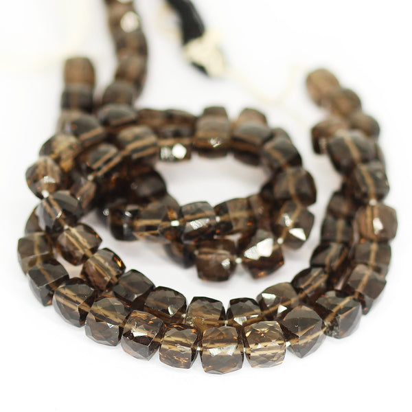 Smoky Quartz Faceted Box Beads