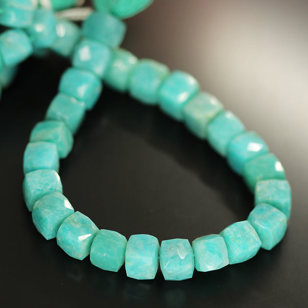 Green Amazonite Faceted Box Beads Strand 7mm 8mm 8 Inches - Jewels Exports