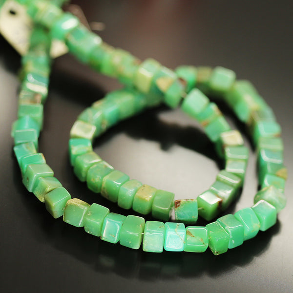 Green Chrysoprase Smooth Box Beads Strand 6mm 8mm 16 Inches - Jewels Exports
