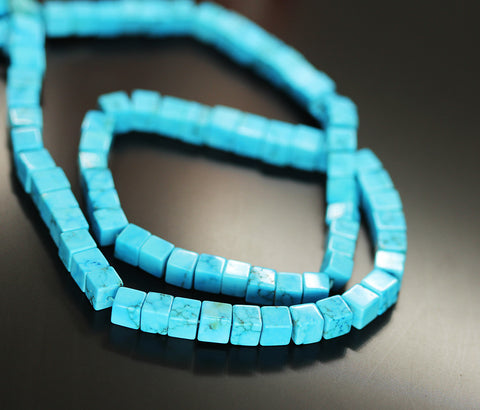 Blue Turquoise Smooth Box Beads Strand 4mm 5mm 16 Inches - Jewels Exports