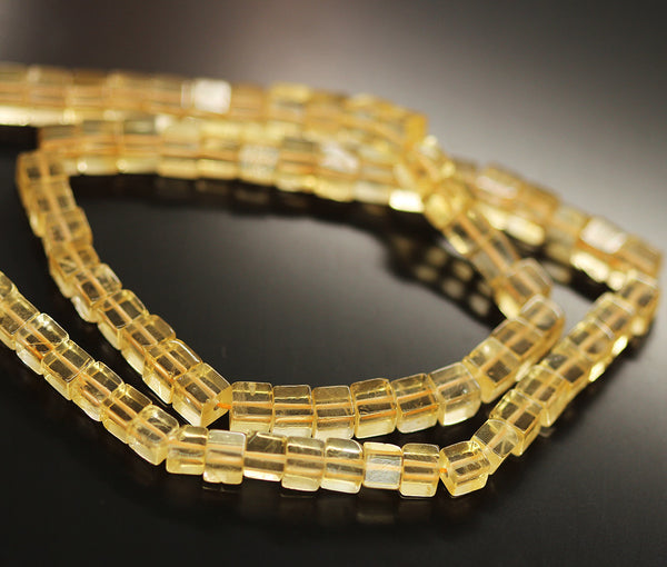 Gold Citrine Smooth Box Beads Strand 5mm 5.5mm 16 Inches - Jewels Exports