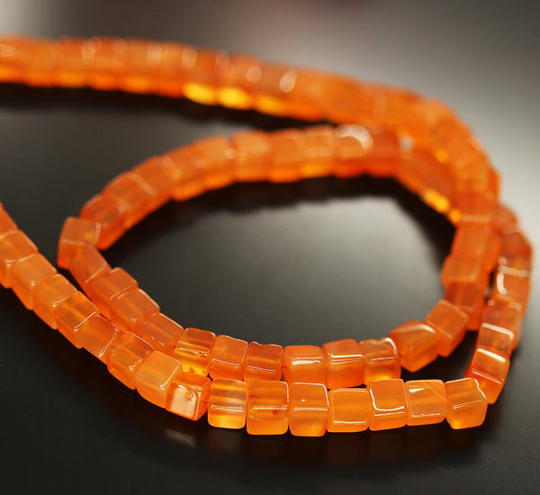 Orange Carnelian Smooth Box Beads Strand 5mm 16 Inches - Jewels Exports