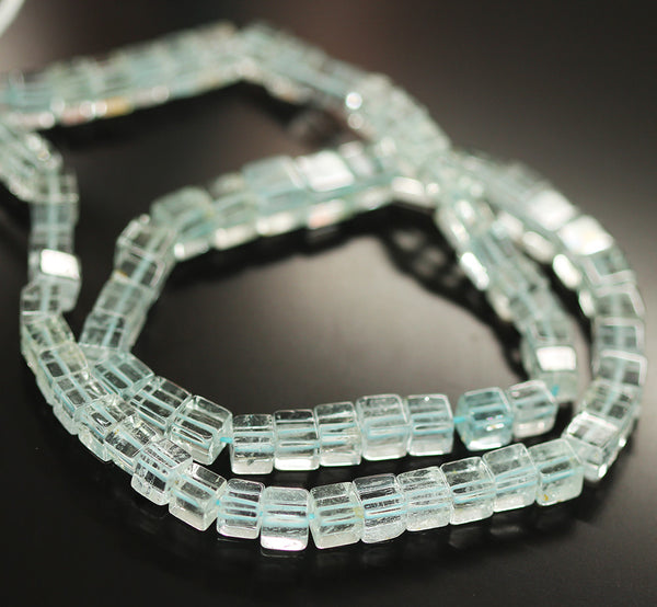 Blue Aquamarine Smooth Box Beads Strand 4mm 16 Inches - Jewels Exports