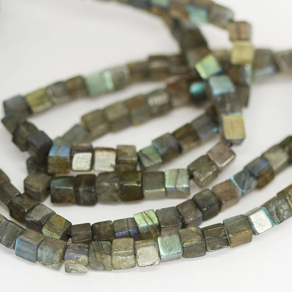 Blue Labradorite Smooth Box Beads Strand 5mm 16 Inches - Jewels Exports