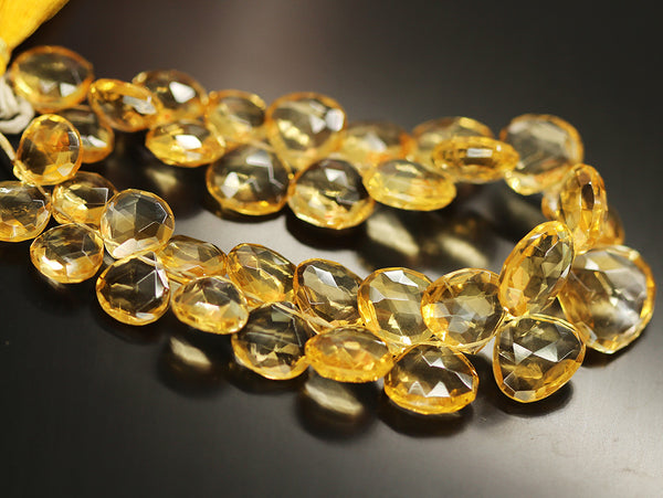Citrine Faceted Heart Beads