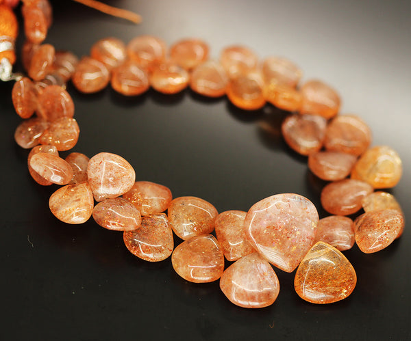 Sunstone Smooth Heart Beads