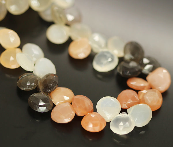 Moonstone Faceted Heart Beads