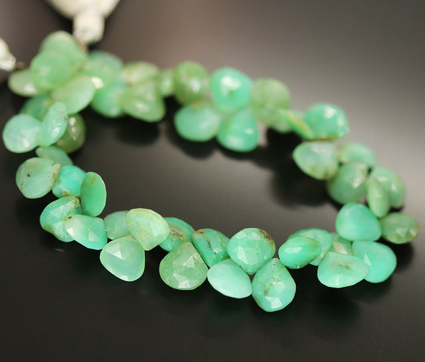 Green Chrysoprase Faceted Heart Beads Strand - 9mm 10mm 8 Inches - Jewels Exports