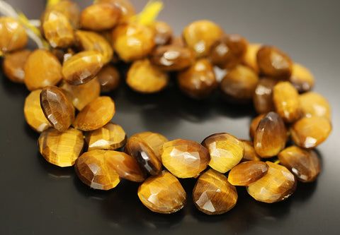 Bi Color Tigers Eye Faceted Heart Beads Strand - 13mm 15mm 9 Inches - Jewels Exports