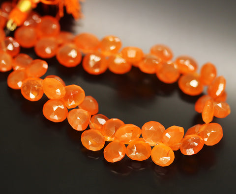 Orange Carnelian Faceted Heart Beads Strand - 8mm 9mm 9 Inches - Jewels Exports