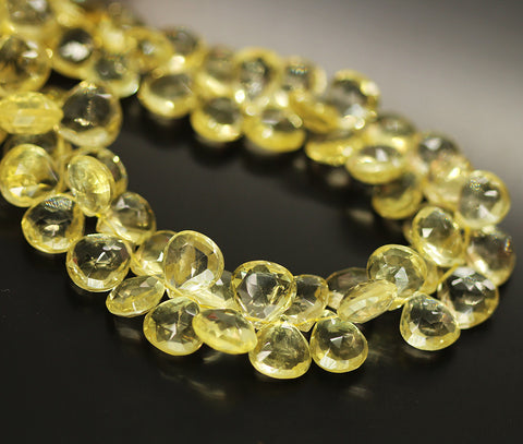 Yellow Lemon Quartz Faceted Heart Beads Strand - 7mm 9mm 10 Inches - Jewels Exports