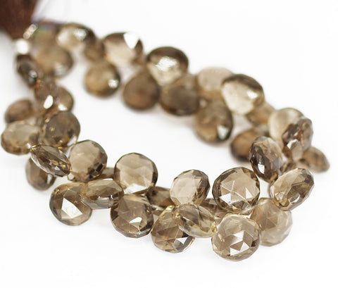 Smoky Quartz Faceted Heart Beads