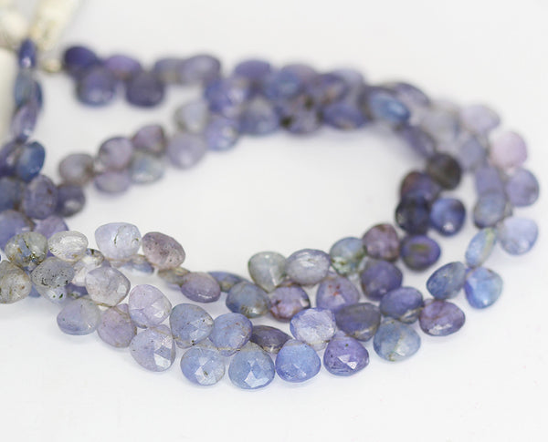 Blue Tanzanite Faceted Heart Beads Strand - 6mm 7mm 8 Inches - Jewels Exports