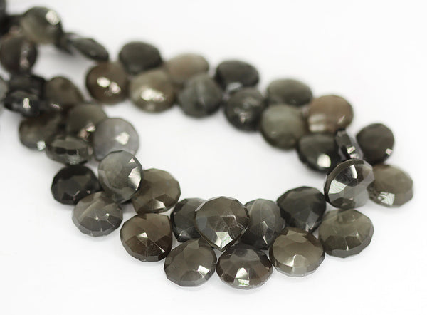 Black Moonstone Faceted Heart Beads Strand - 9mm 11mm 10 Inches - Jewels Exports