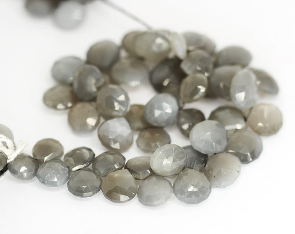Gray Moonstone Faceted Heart Beads Strand - 9mm 13mm 10 Inches - Jewels Exports