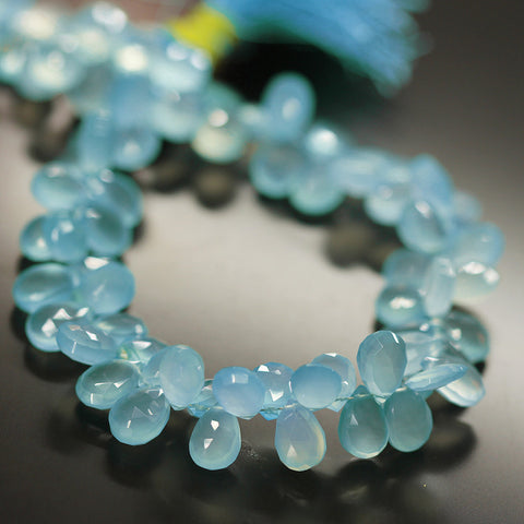 Blue Chalcedony Faceted Pear Drop Beads Strand - 10mm mm 9 Inches - Jewels Exports