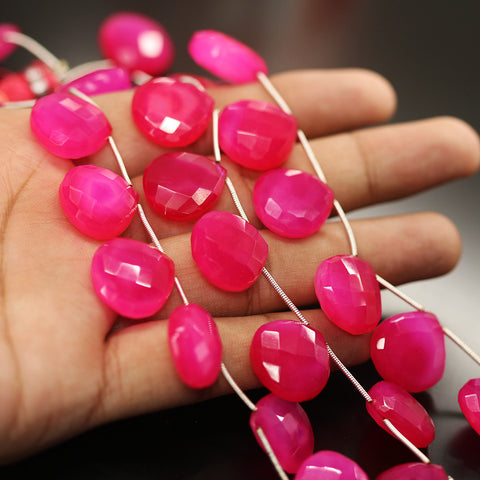 Hot Pink Chalcedony Faceted Heart Beads Strand - 17mm 18mm 8 Inches - Jewels Exports