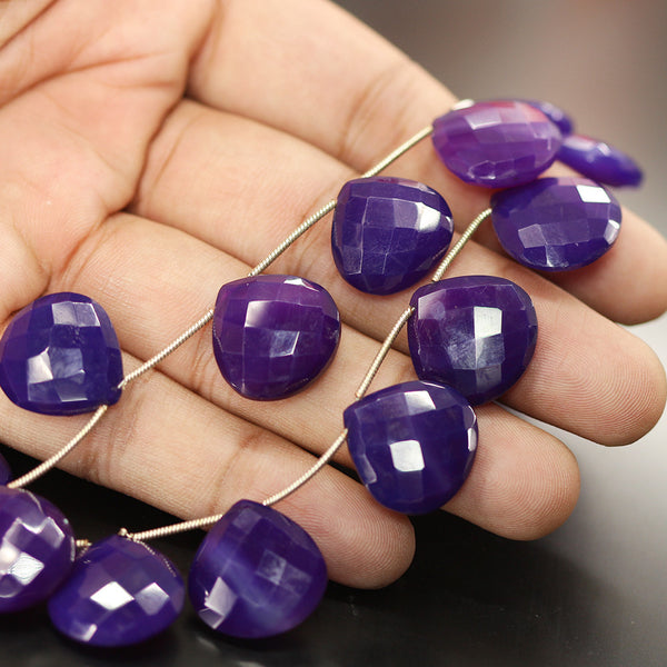 Purple Chalcedony Faceted Heart Beads Strand - 18mm mm 8 Inches - Jewels Exports