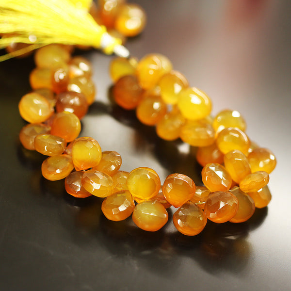 Honey Chalcedony Faceted Heart Beads Strand - 10mm 11mm 8 Inches - Jewels Exports