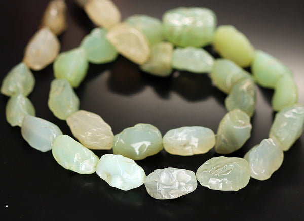 Seafoam Green Chalcedony Smooth Puff Marquise Beads Strand - 21mm 24mm - 24 Inches - Jewels Exports