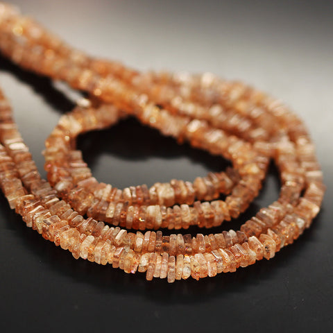 Orange Sunstone Smooth Heishi Cube Beads Strand - 3.5mm 4mm - 16 Inches - Jewels Exports